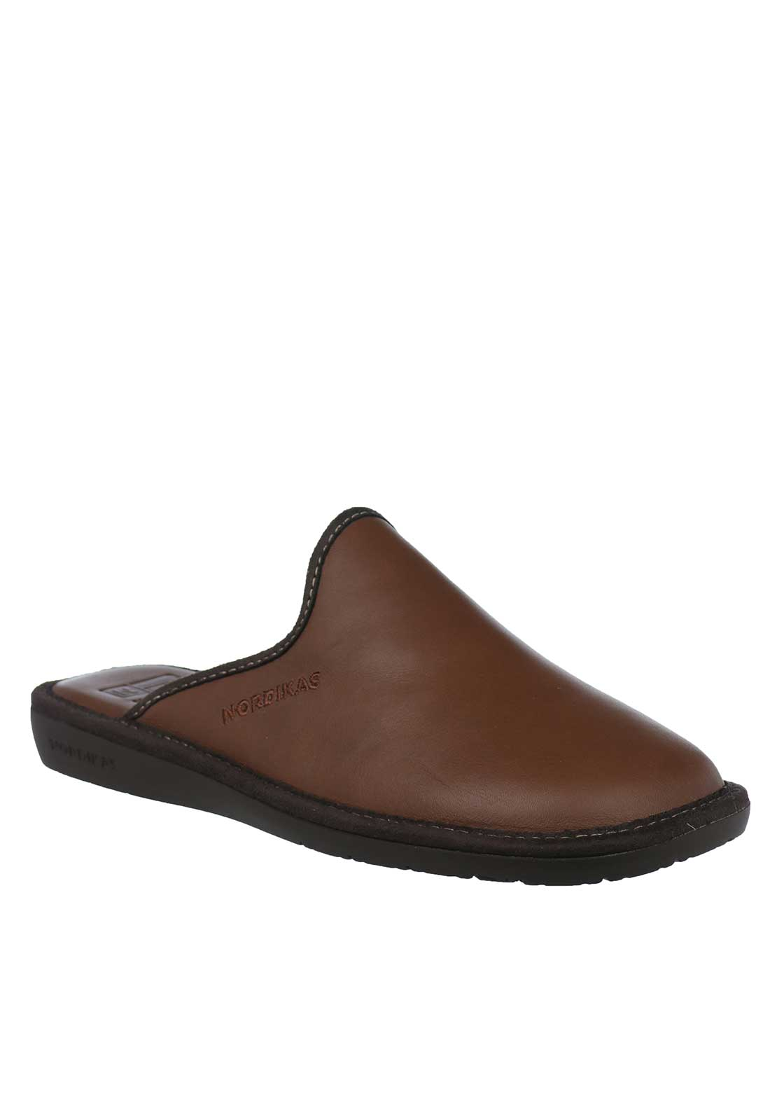 Nordika Mens Ohio Leather Slippers, Brown