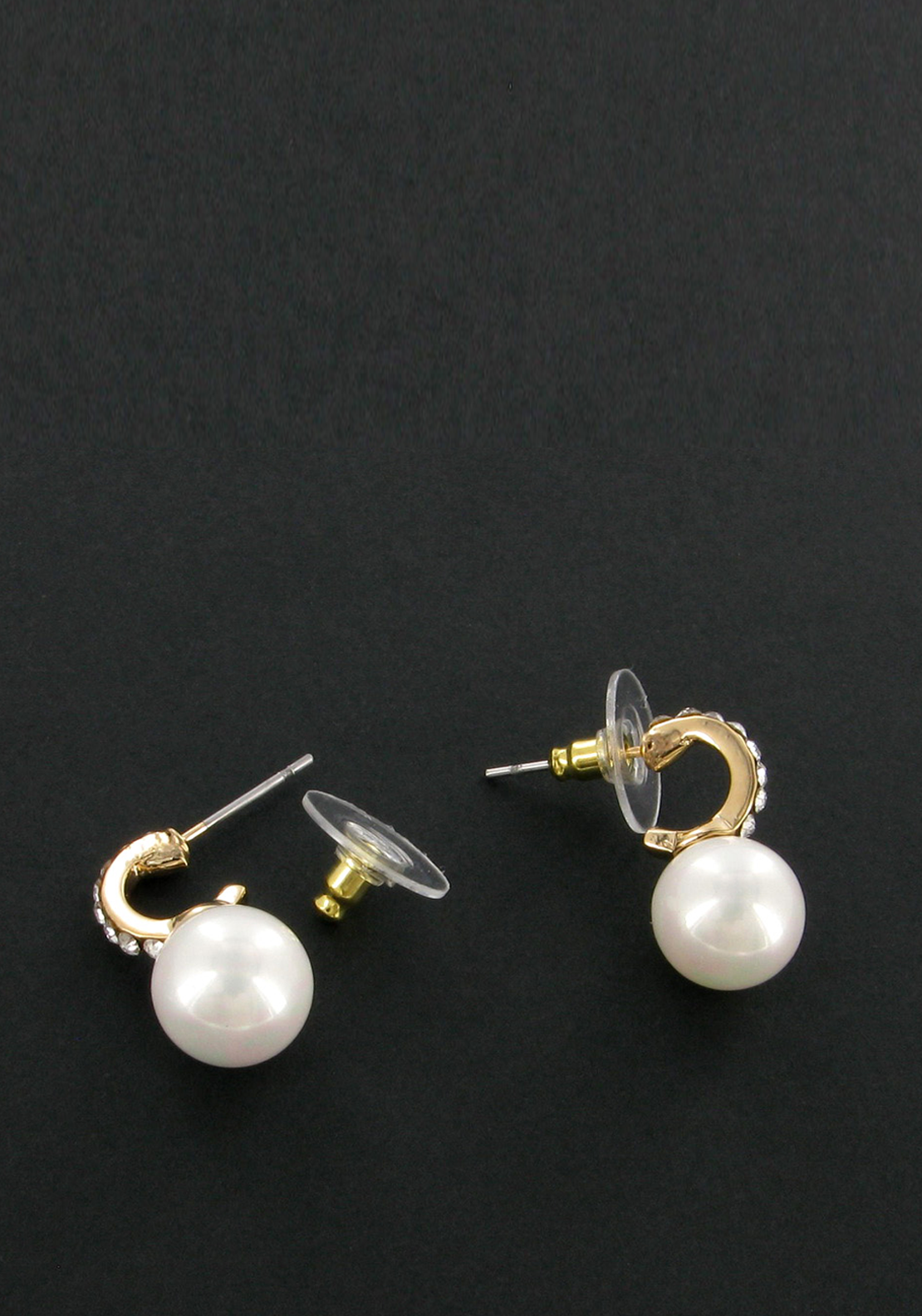 Nour London Pearl and Crystal Loop Earrings, Gold