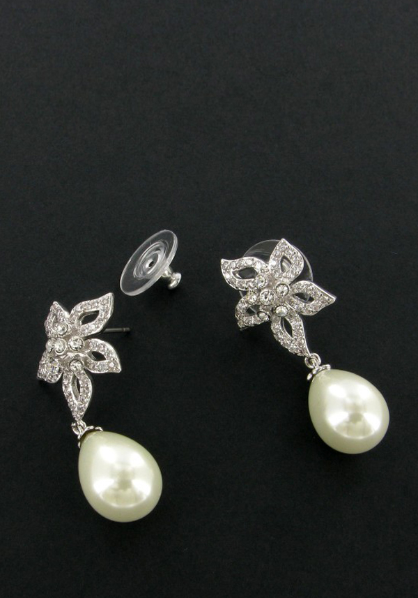 Nour Earring, Crystal Embellished Flower with pearl drop, Silver