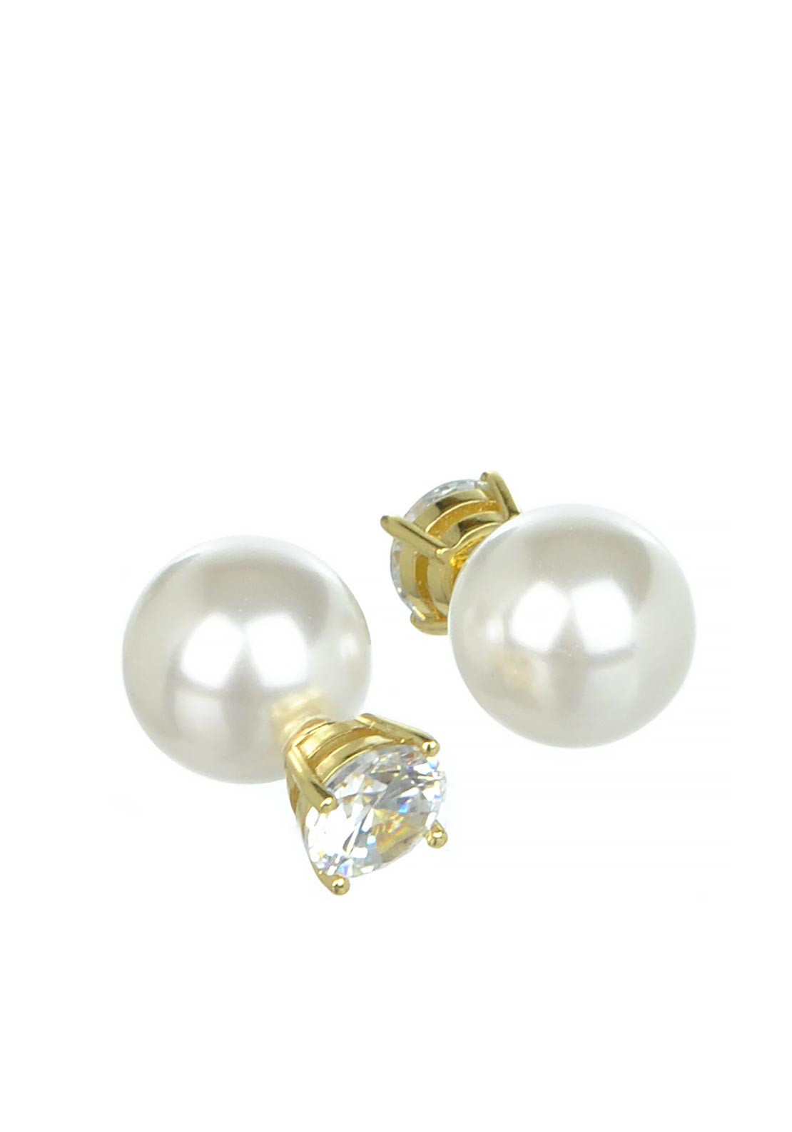 Nour London Double Sided Pearl & Crystal Earring, Gold