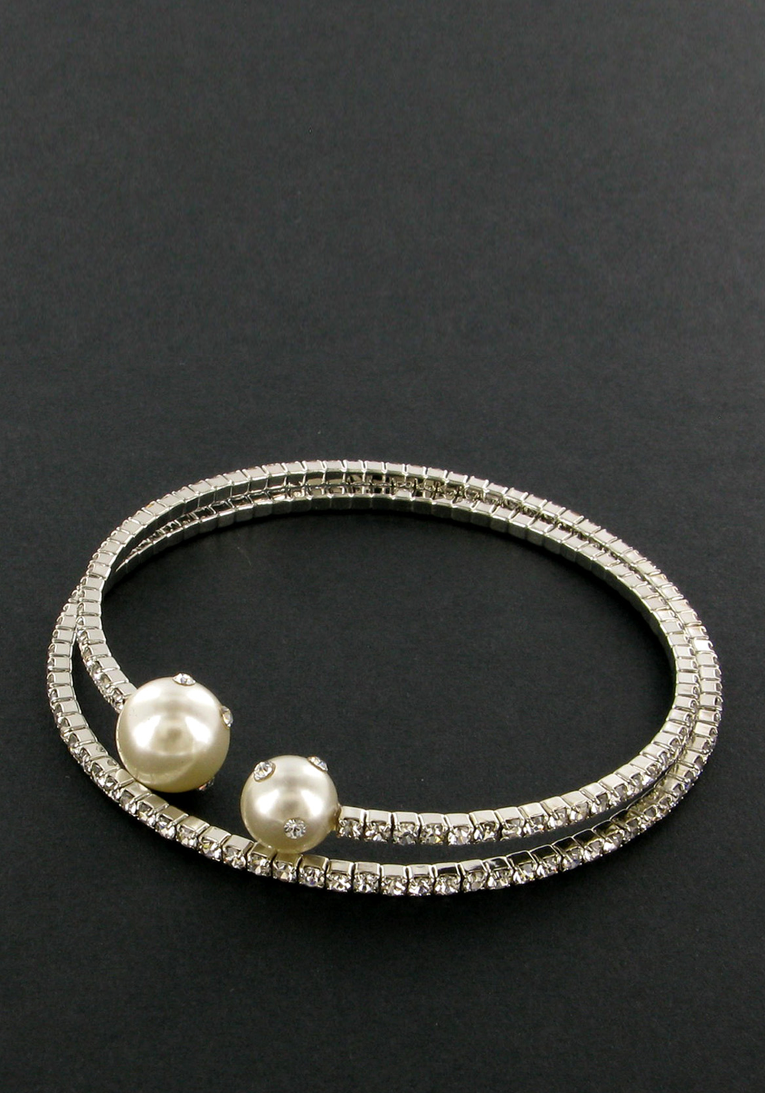 Nour London Wrap Bracelet with Faux Pearls and Crystals, Silver