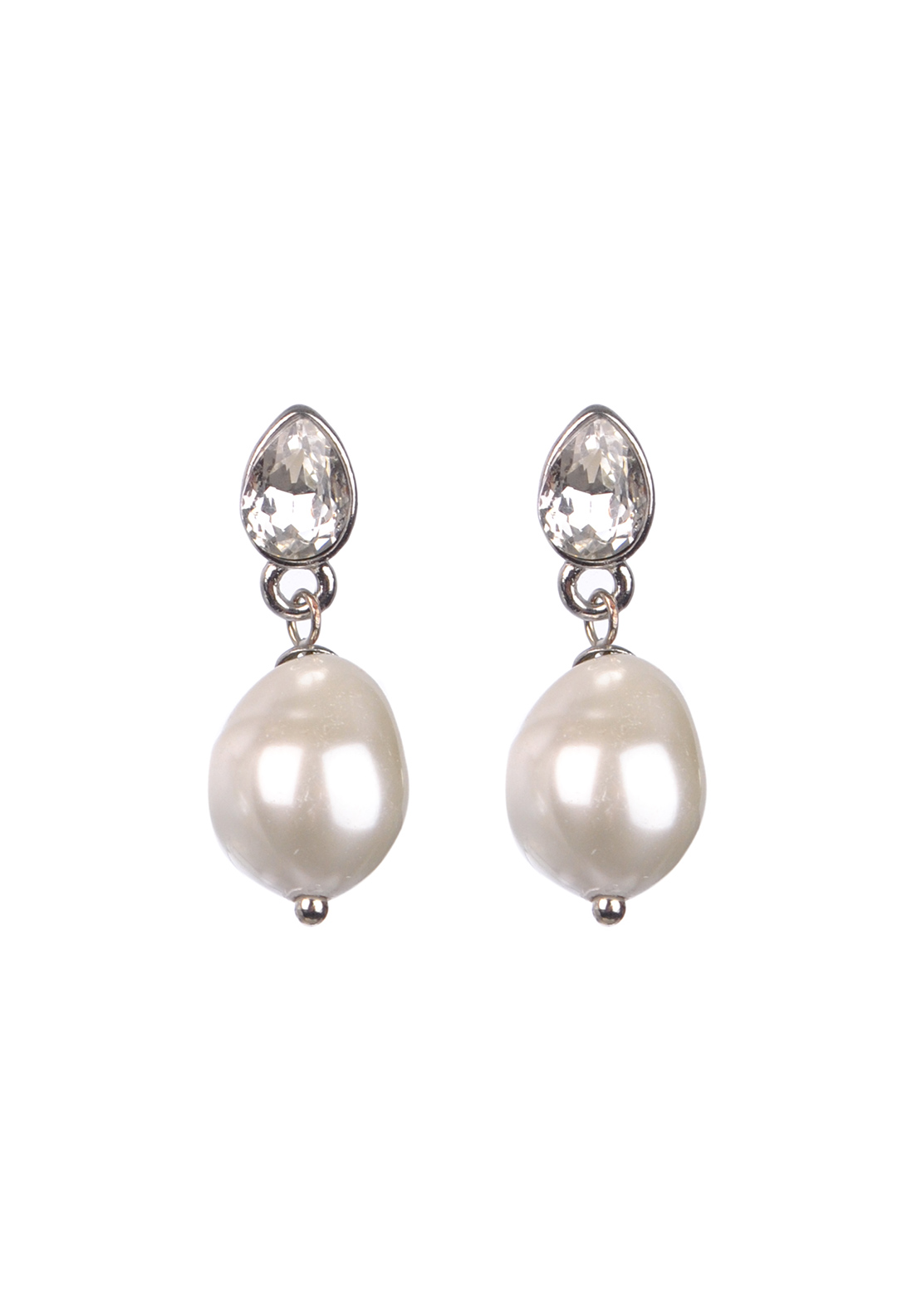 Nour Earring, Crystal Earring with pearl droplet, Silver
