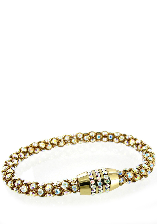 Nour Crystal Magnetic Bracelet with ab crystals, Gold
