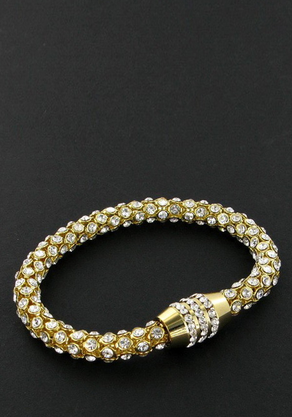 Nour Crystal Magnetic Bracelet with clear crystals, Gold