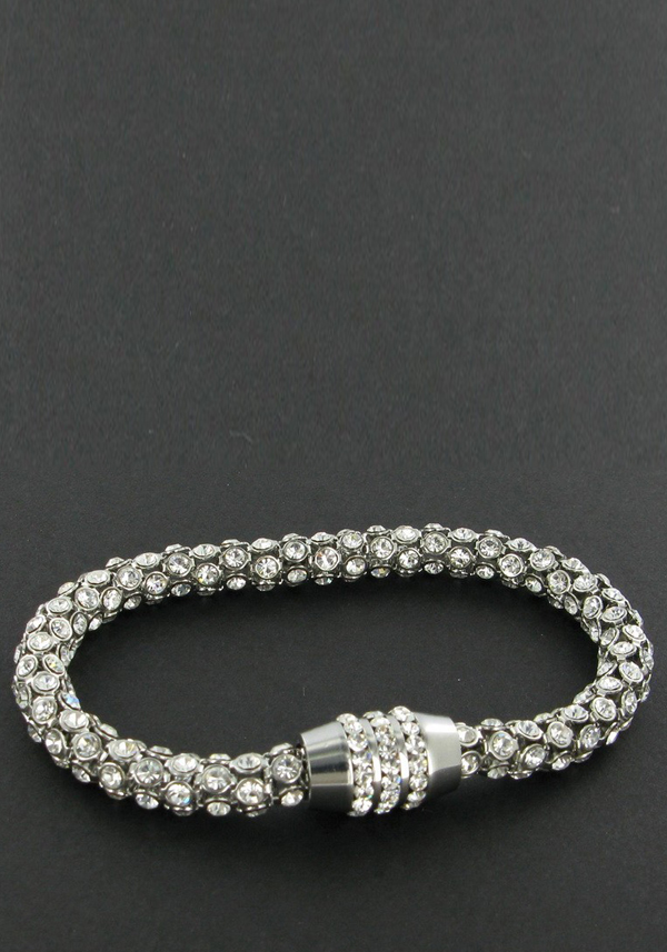 Nour Crystal Magnetic Bracelet with clear crystals, Silver