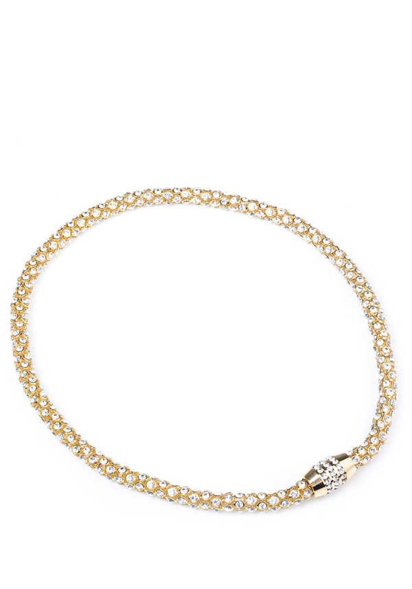 Nour Crystal Magnetic Necklace with clear crystals, Gold