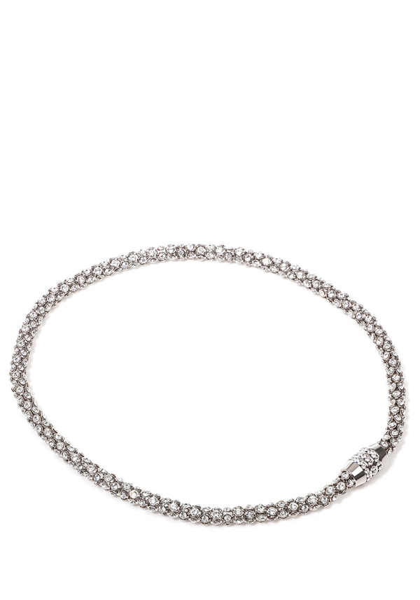 Nour Crystal Magnetic Necklace with clear crystals, Silver