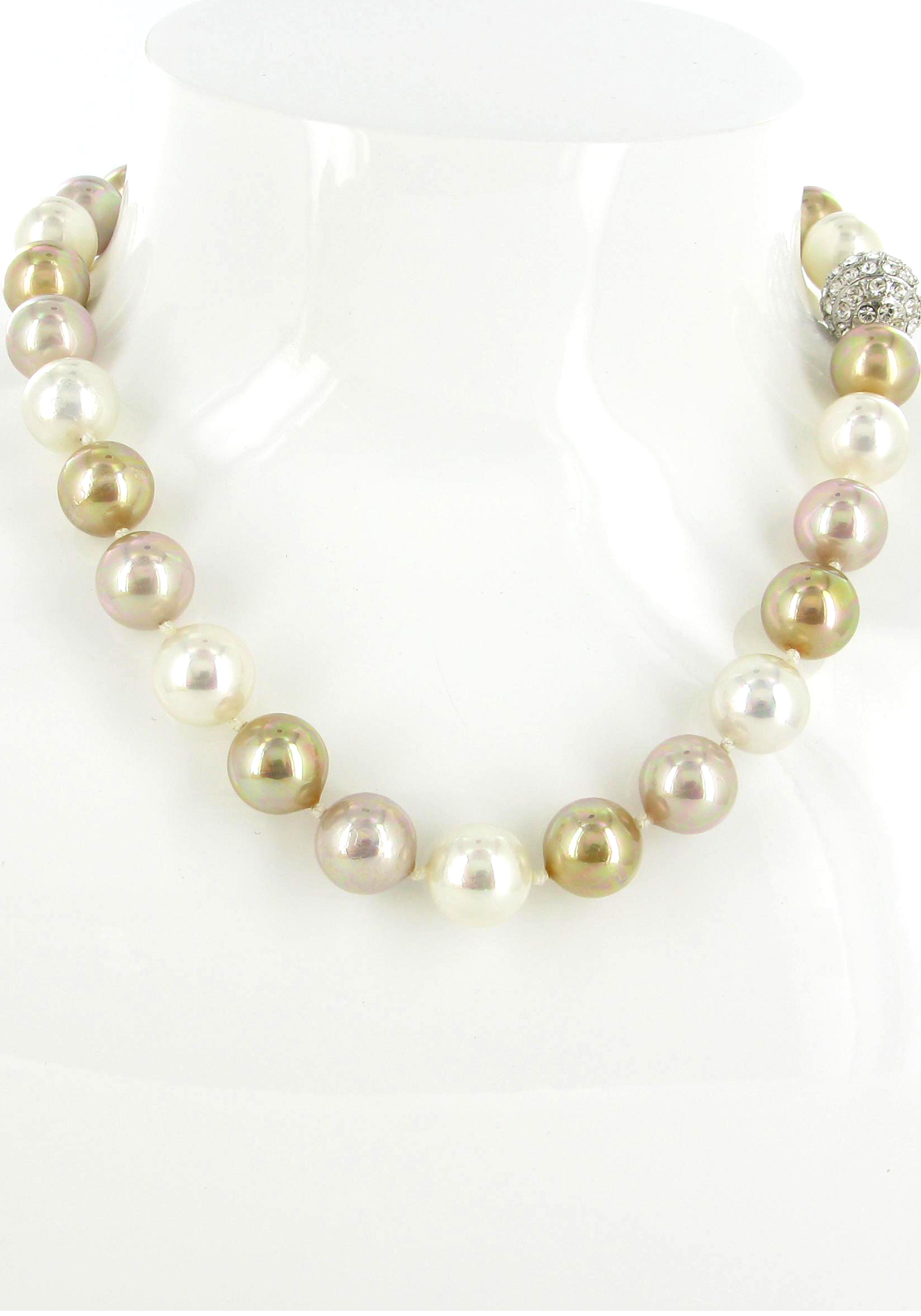 Nour London Multi Coloured Faux Pearl Necklace, Gold