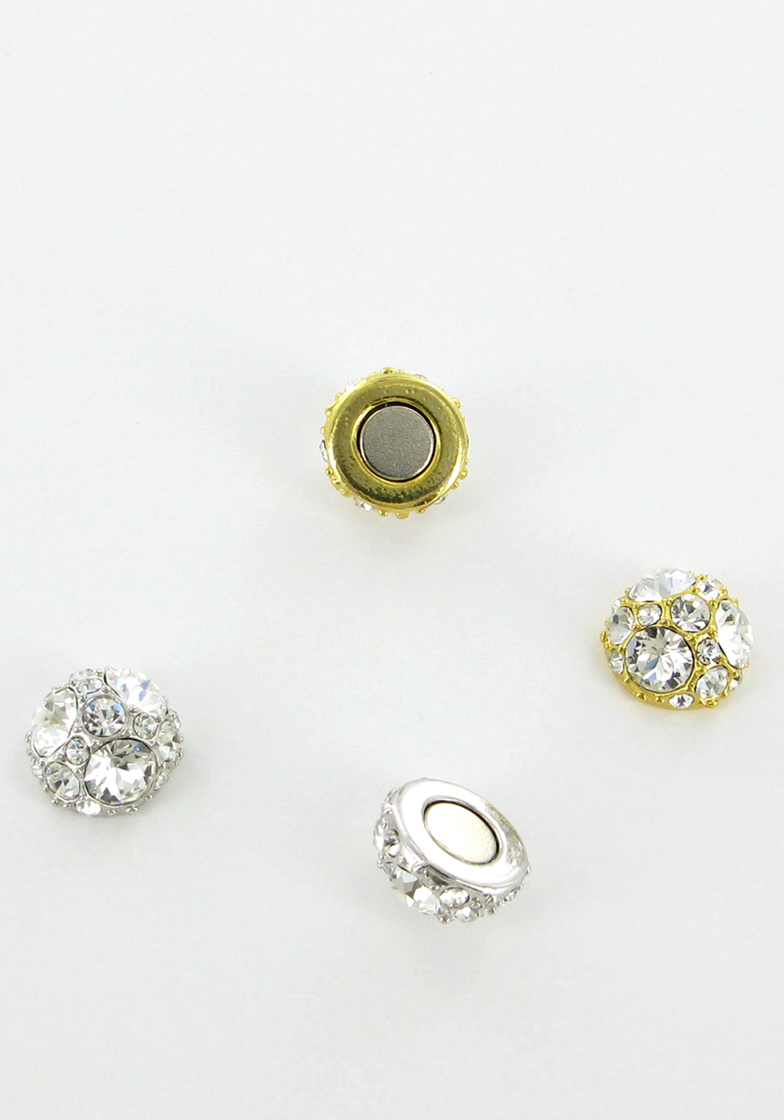 Nour London Round Magnetic Crystal Embellished Stud Earrings, Silver & Gold