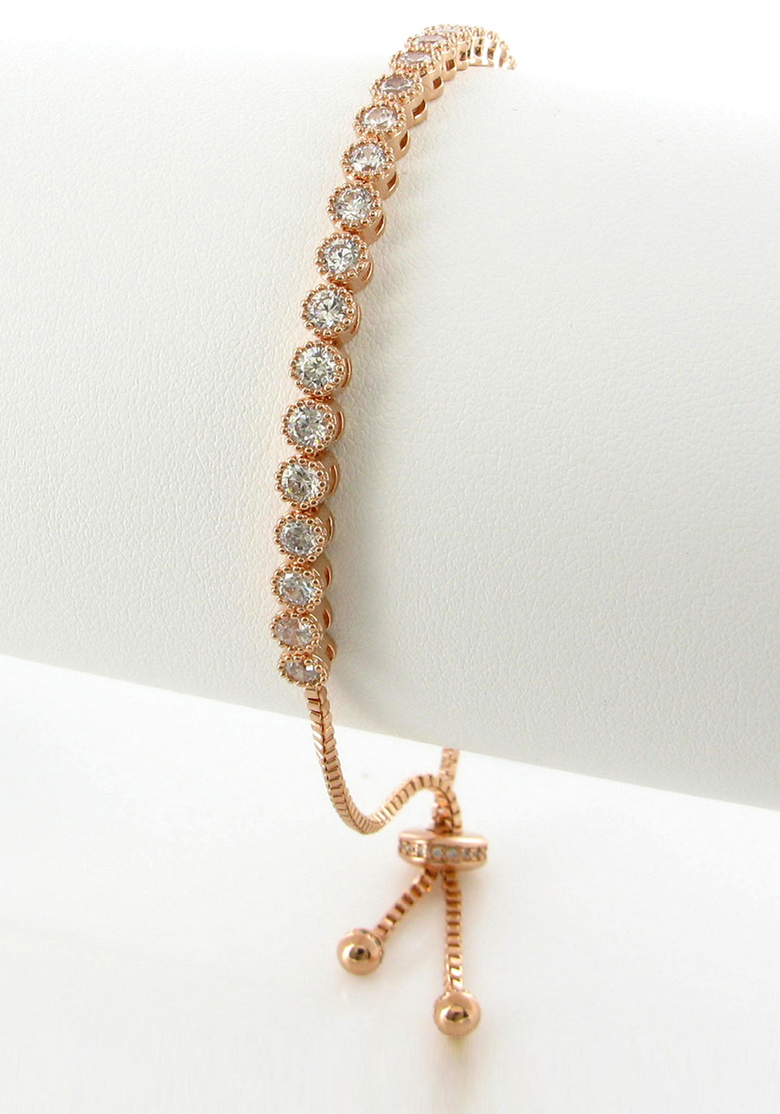 Nour London Round Cut Crystal Bracelet, Rose Gold