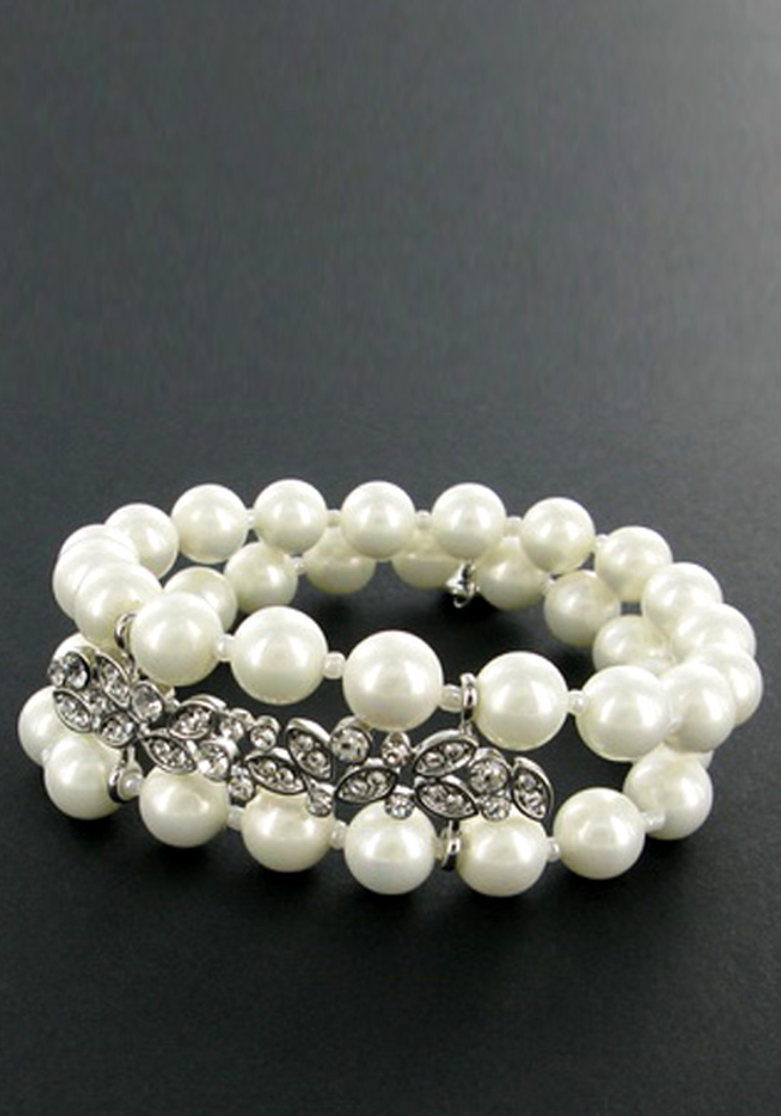 Nour London Faux Pearl Double Bracelet with Sparkling Brooch Detail, White