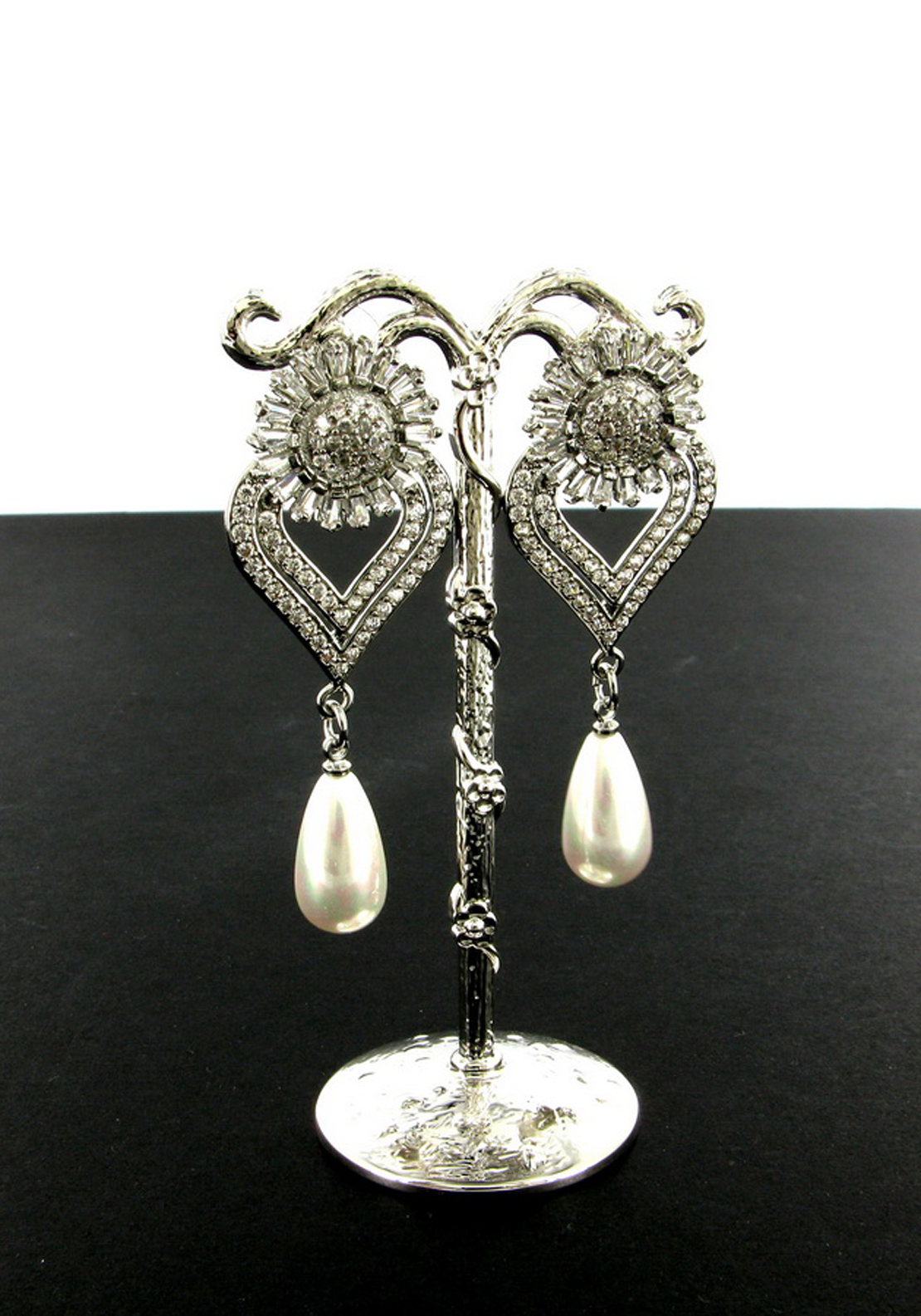 Nour London Crystal Earrings with Faux Pearl Drop Earrings, Silver