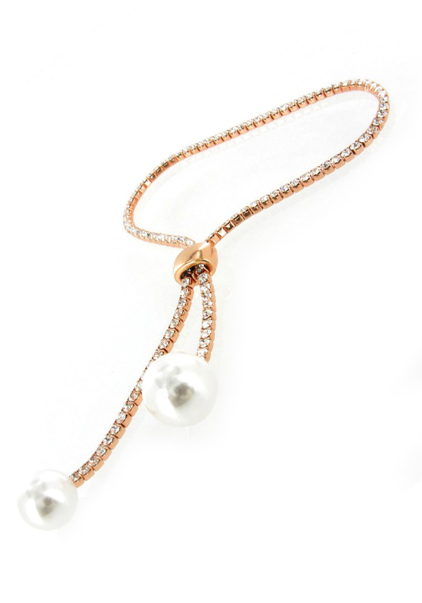 Nour Sliding Toggle Crystal Tennis Bracelet with pearls, Rose Gold