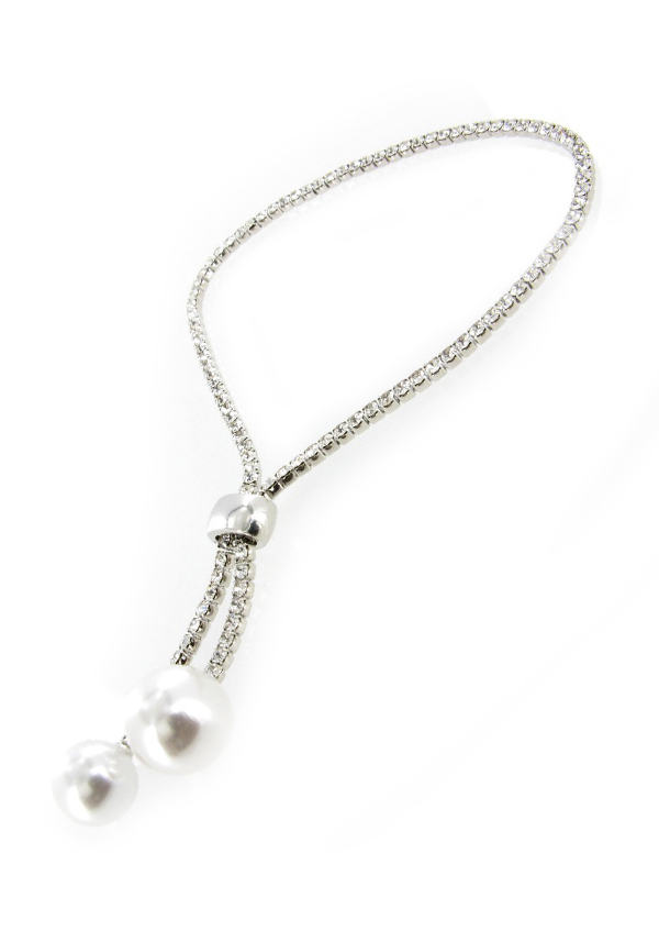 Nour Sliding Toggle Crystal Tennis Bracelet with pearls, Silver