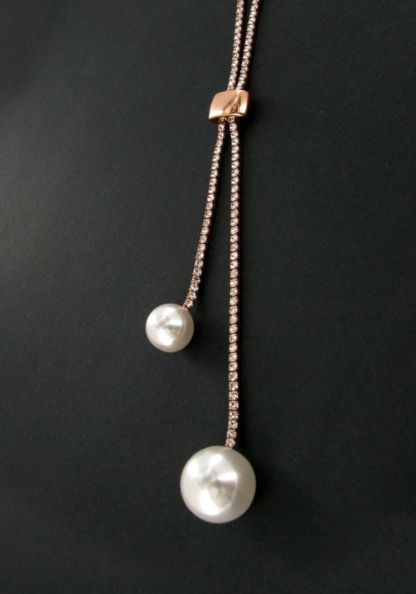 Nour Sliding Toggle Crystal Tennis Necklace with pearls, Rose Gold