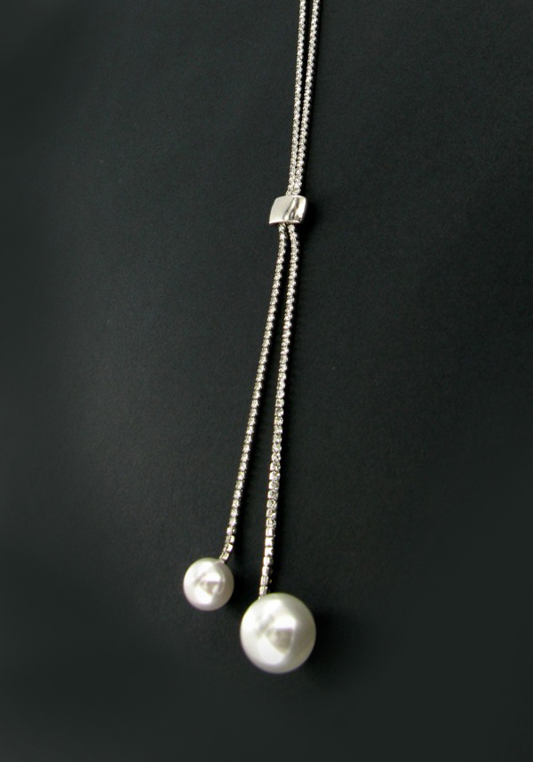 Nour Sliding Toggle Crystal Tennis Necklace with pearls, Silver