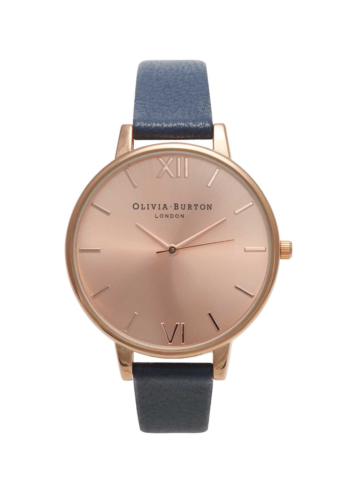 Olivia Burton Big Dial Watch in Navy, Rose Gold