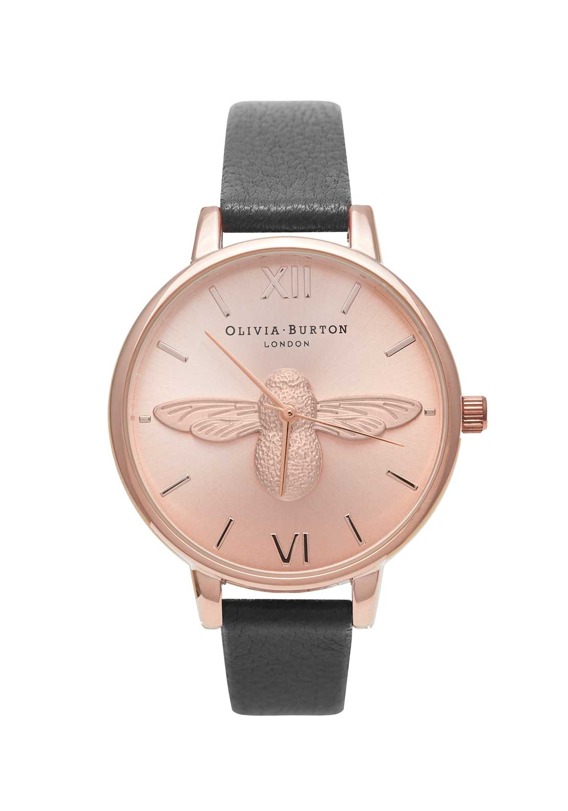 Olivia Burton Moulded Bee Watch in Black, Rose Gold