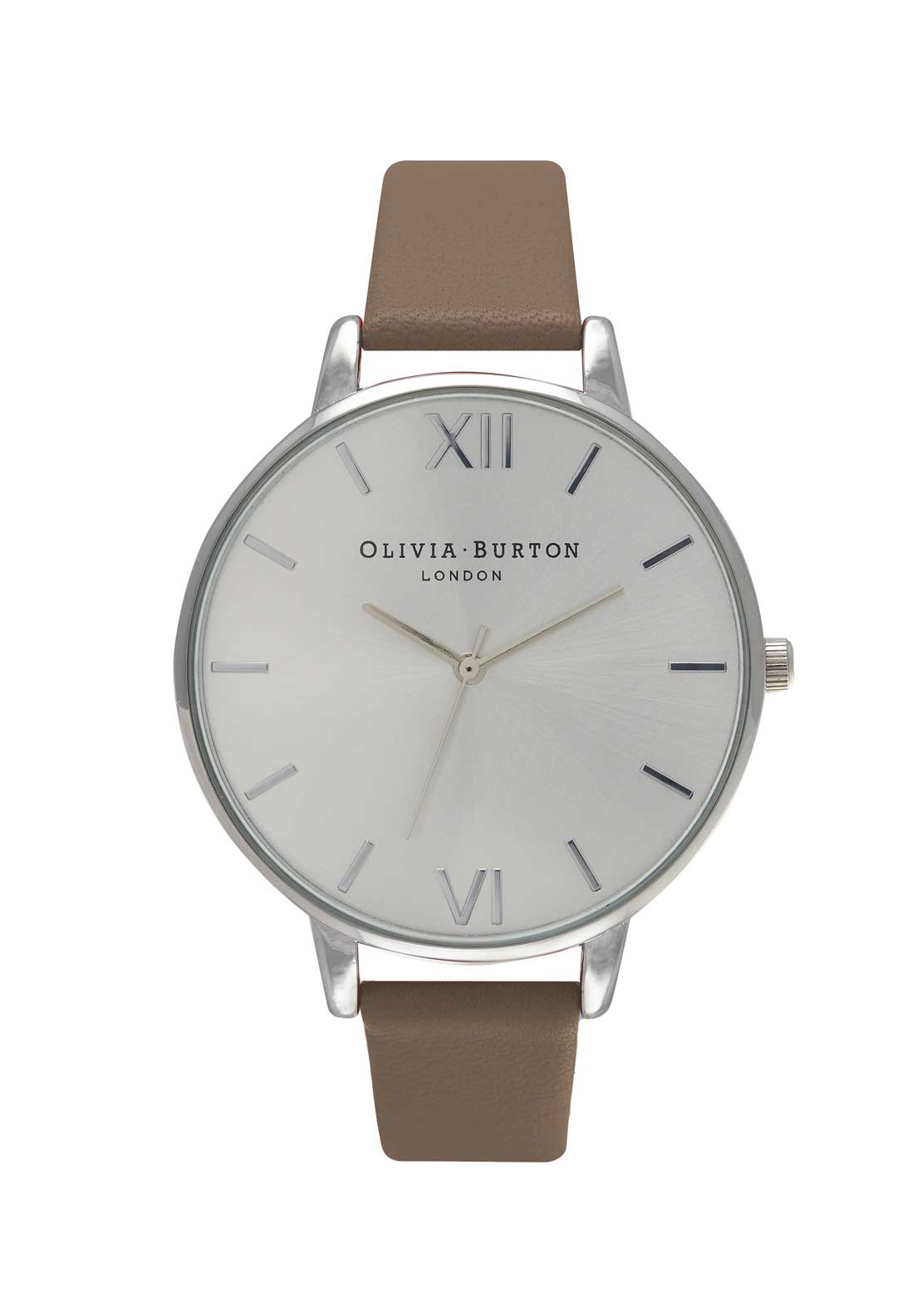 Olivia Burton Big Dial Watch in Taupe, Silver