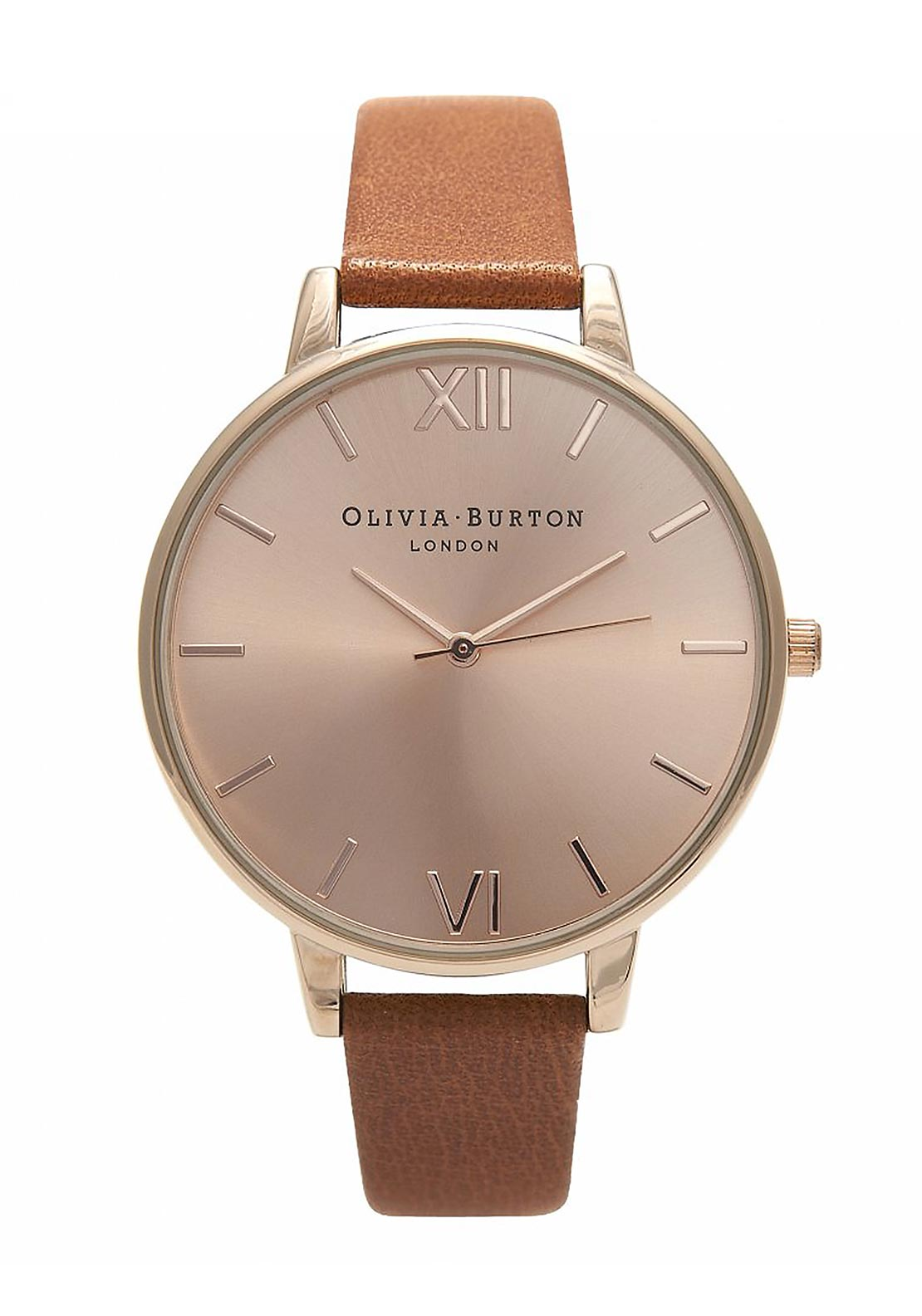Olivia Burton Big Dial Watch, Tan & Rose Gold