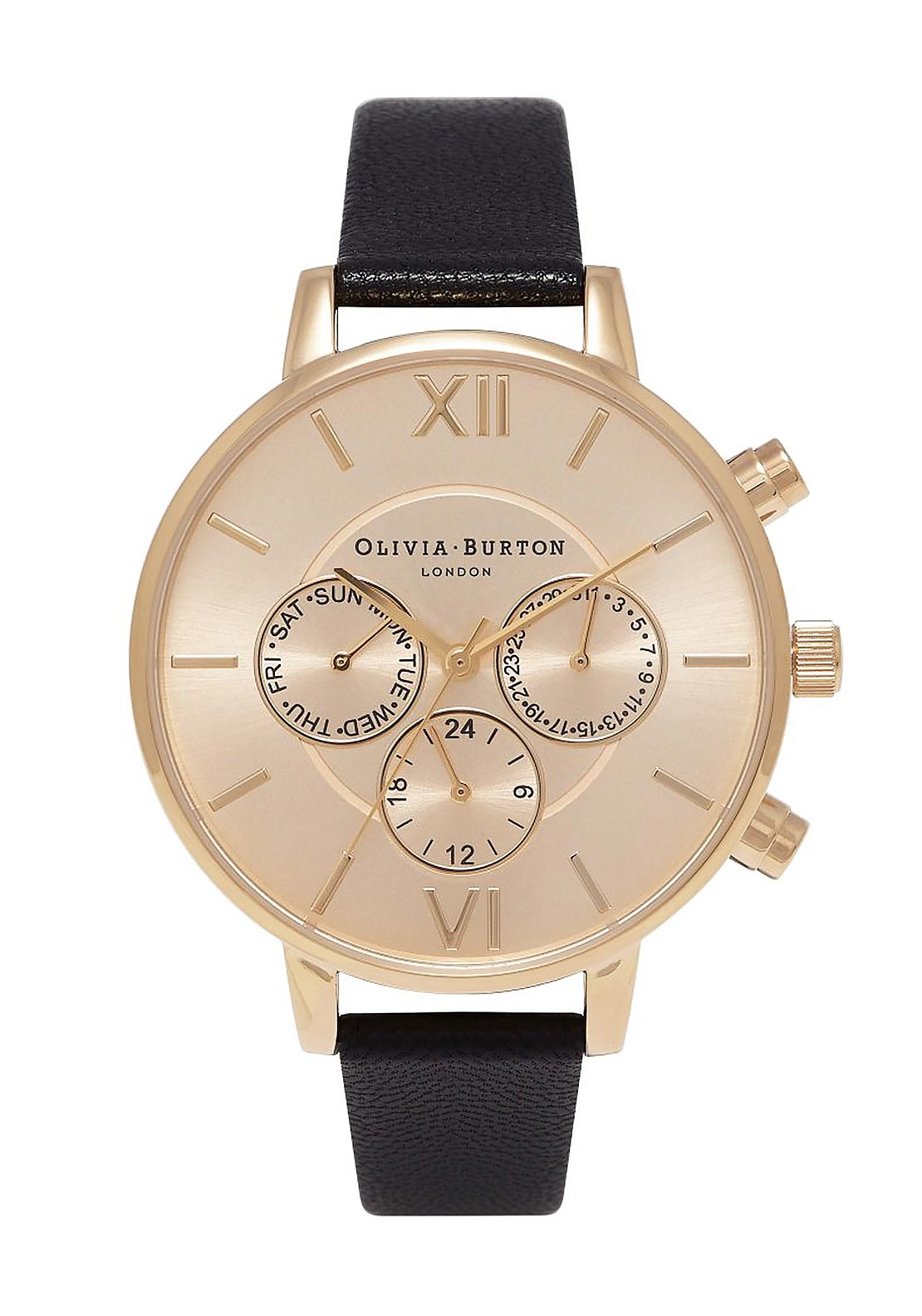 Olivia Burton Chrono Detail Sunray Watch, Black & Gold