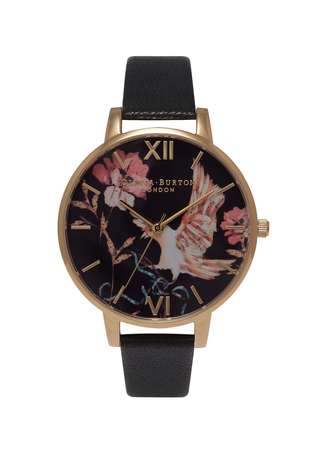 Olivia Burton Oriental Opulence Bird Watch in Black, Gold