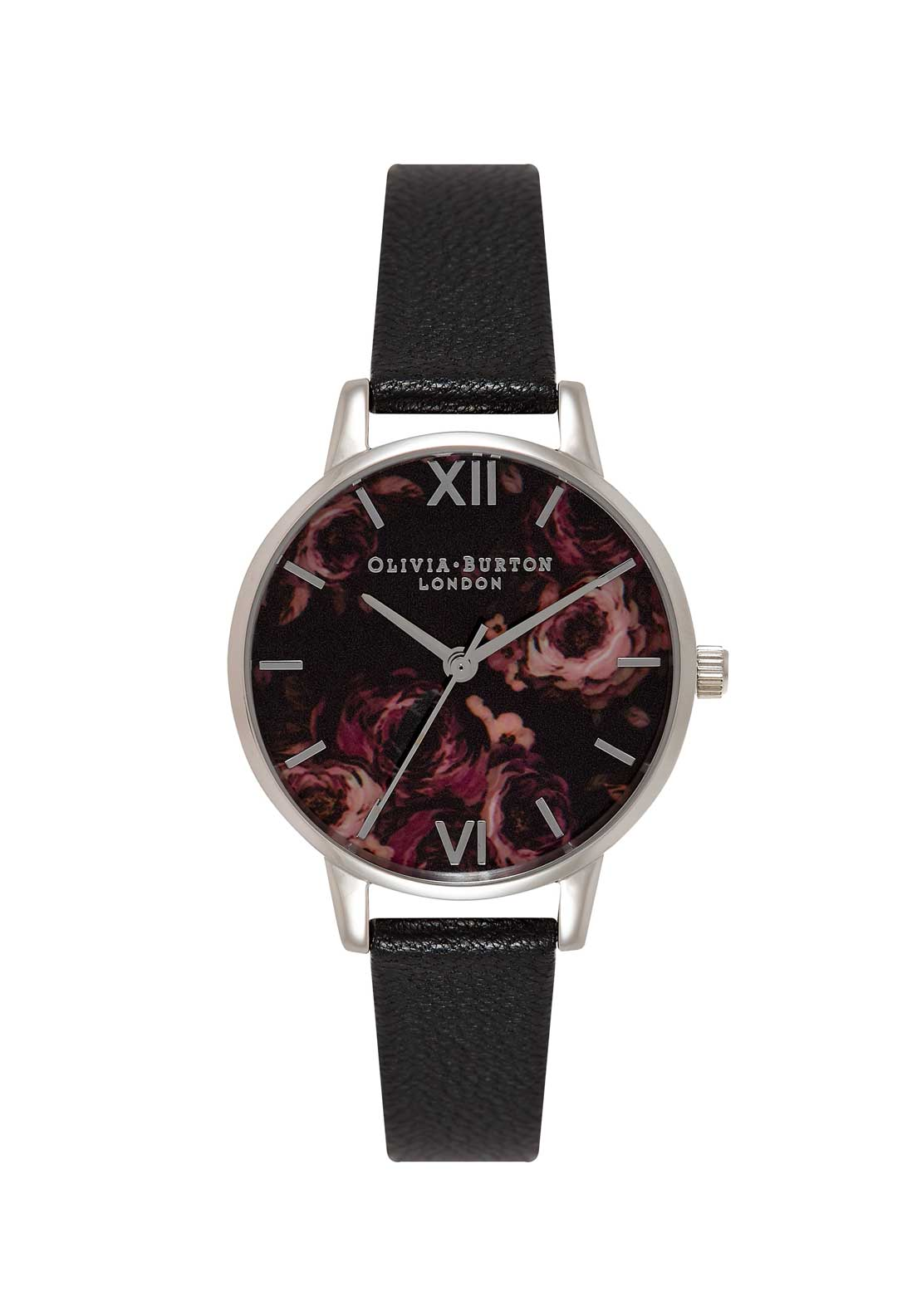 Olivia Burton Painterly Prints Midi Watch in Black, Silver