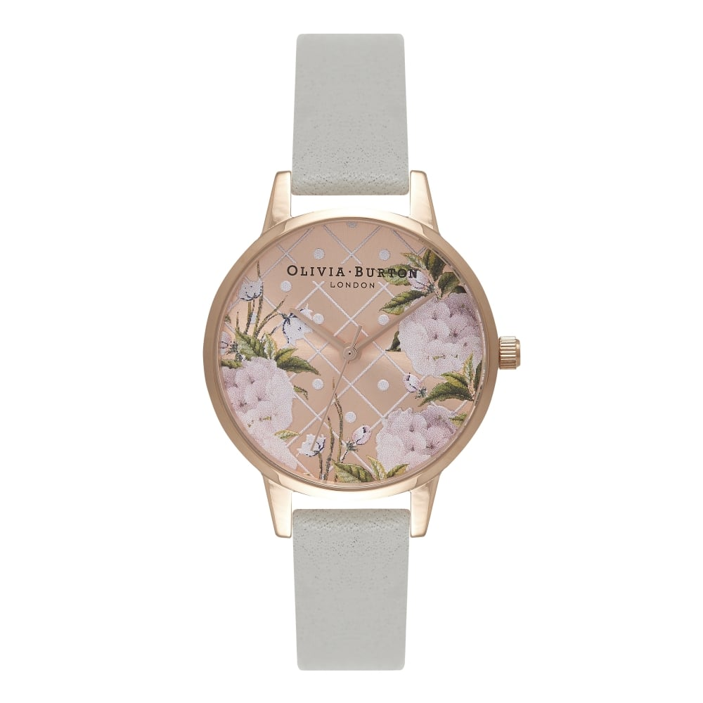 Olivia Burton Dot Design Floral Grey & Rose Gold