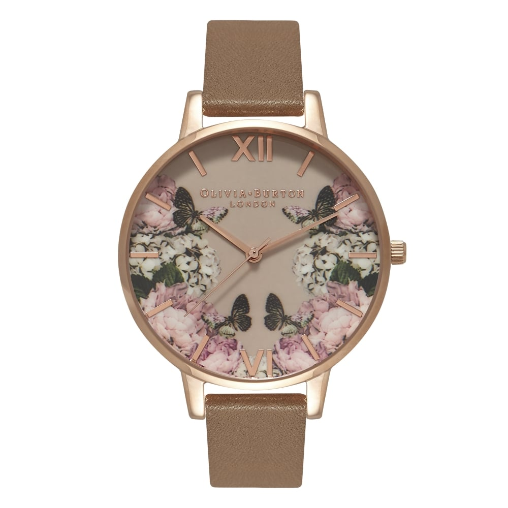 Olivia Burton Enchanted Garden Mirror Floral Taupe & Rose Gold
