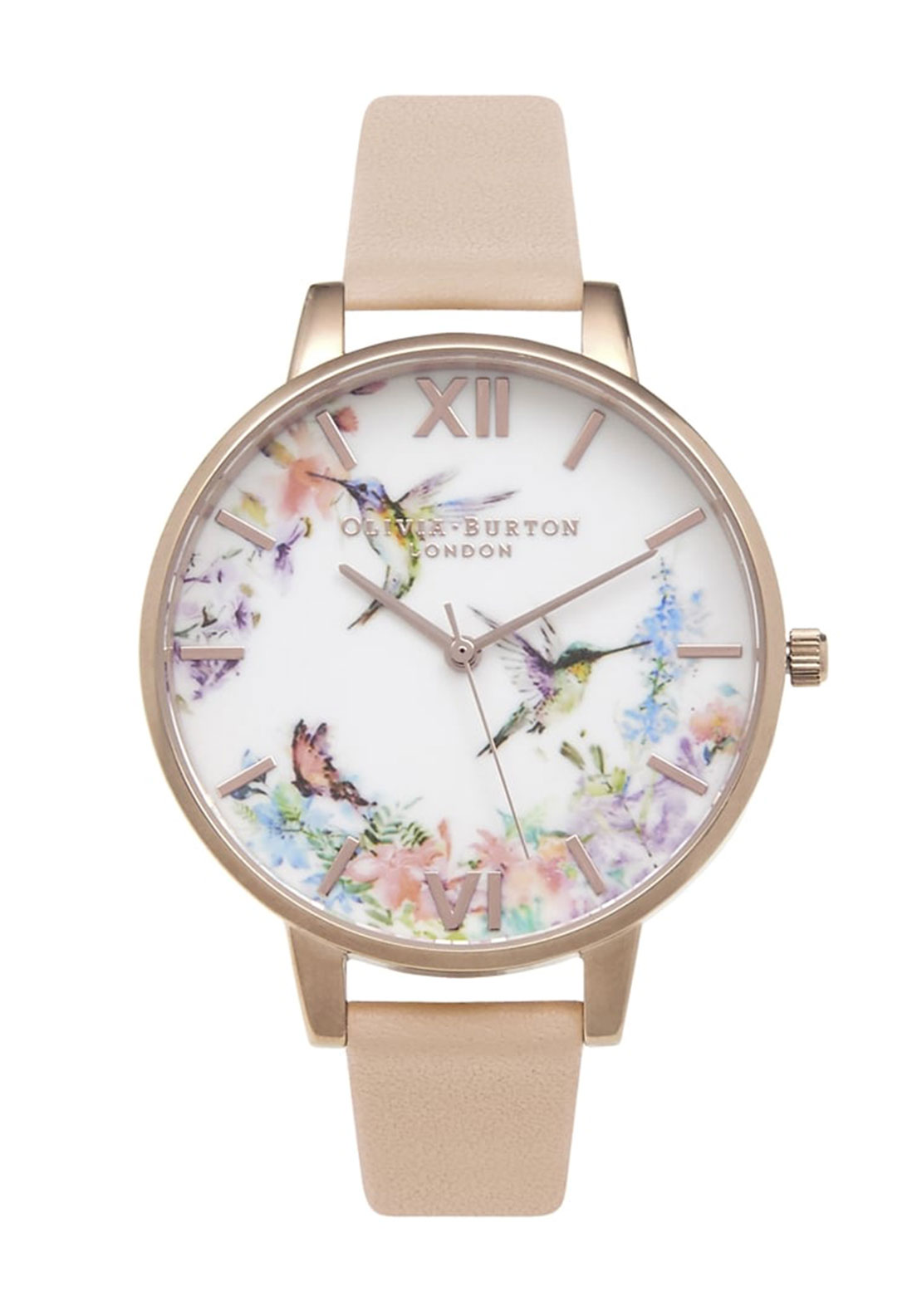 Olivia Burton London Painterly Prints Hummingbird Watch, Peach & Rose Gold