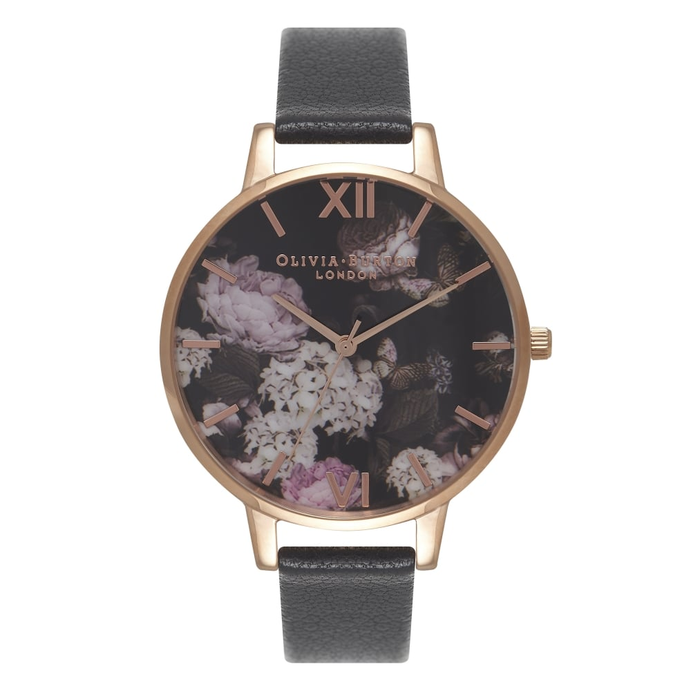 Olivia Burton Winter Garden Hydrangea Black & Rose Gold