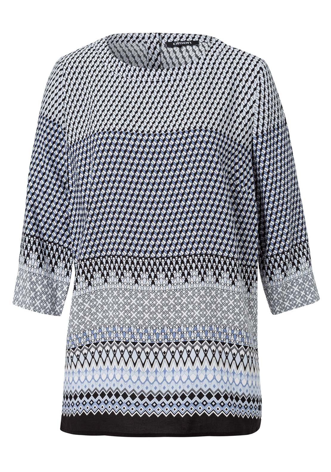 Olsen Geometric Print Cropped Sleeve Top, Blue Multi