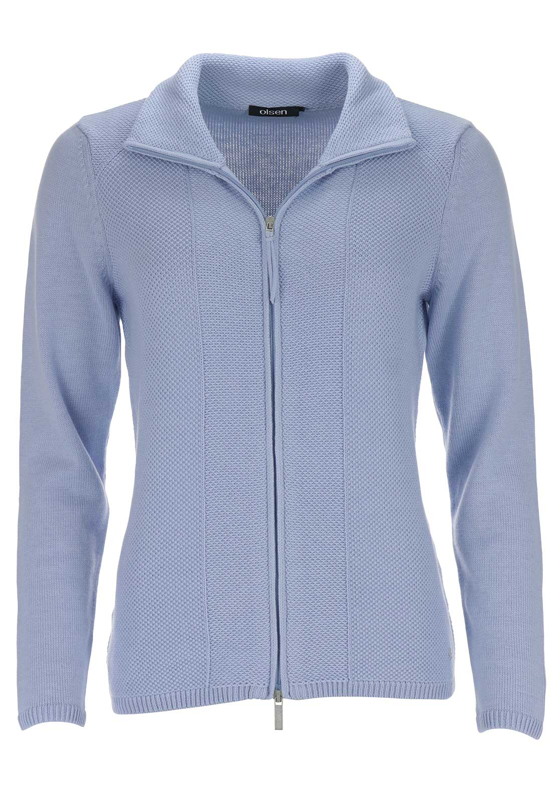 Olsen Textured Knit Cardigan, Pale Blue