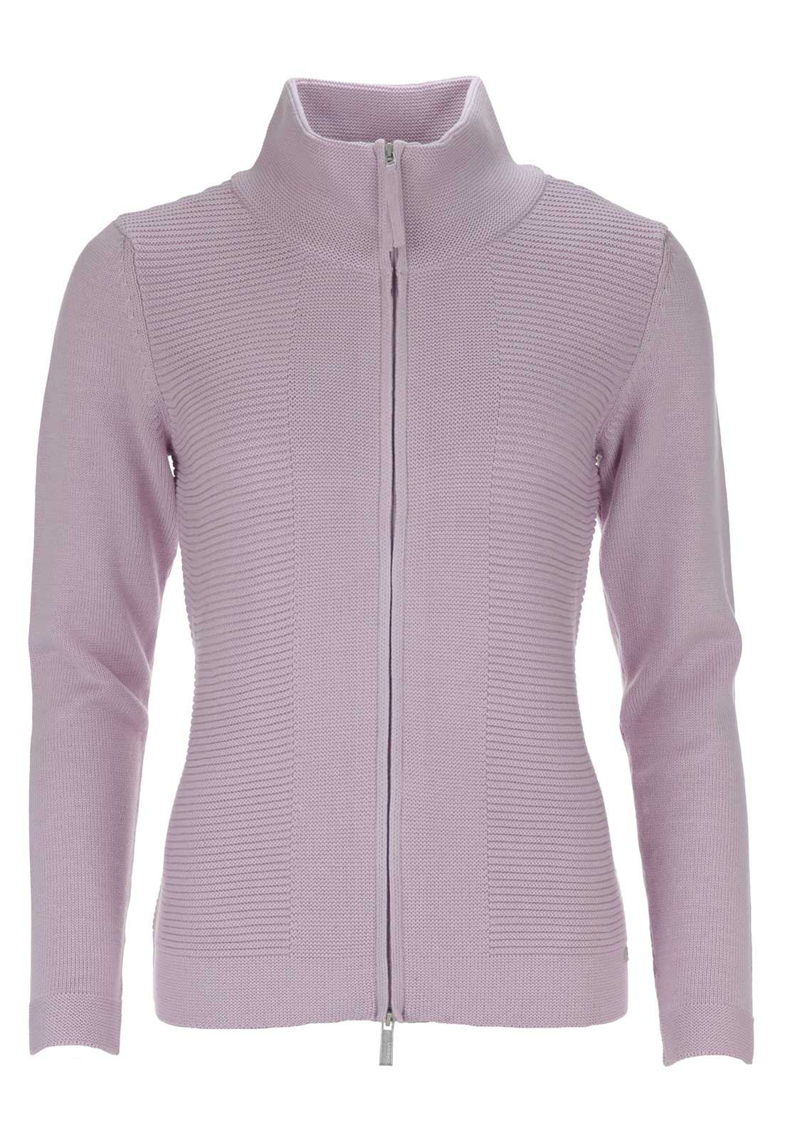 Olsen Chunky Knit High Neck Cardigan, Pink