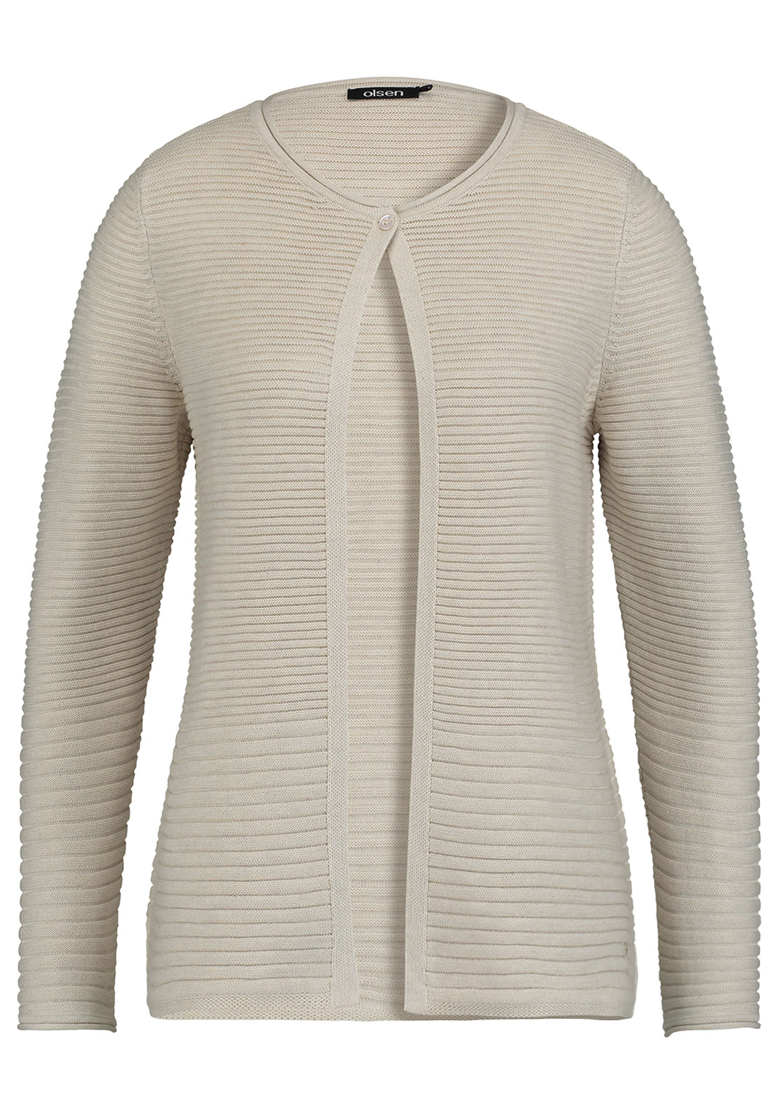 Olsen Ribbed Cotton Blend Cardigan, Beige