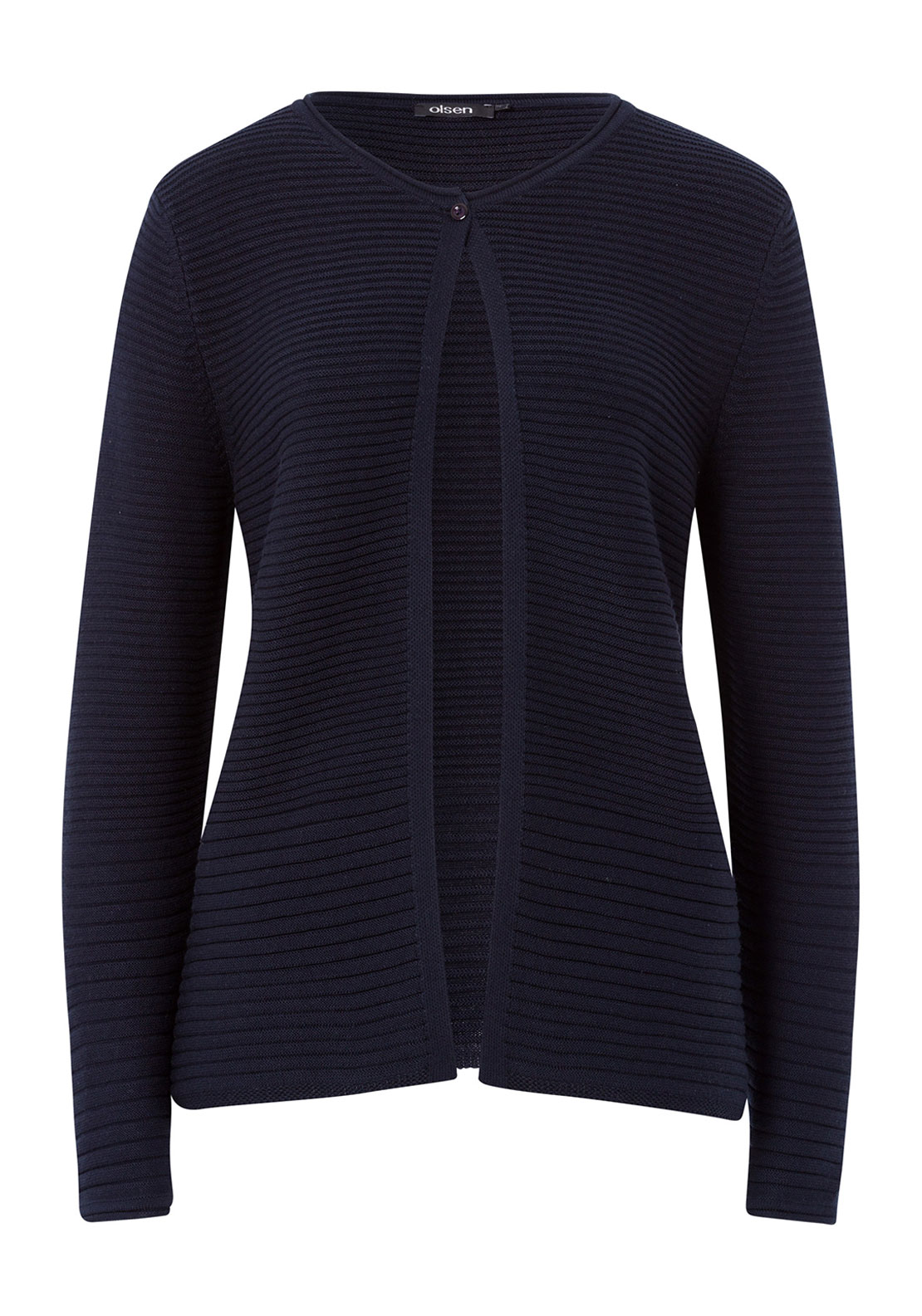 Olsen Ribbed Cotton Blend Cardigan, Navy