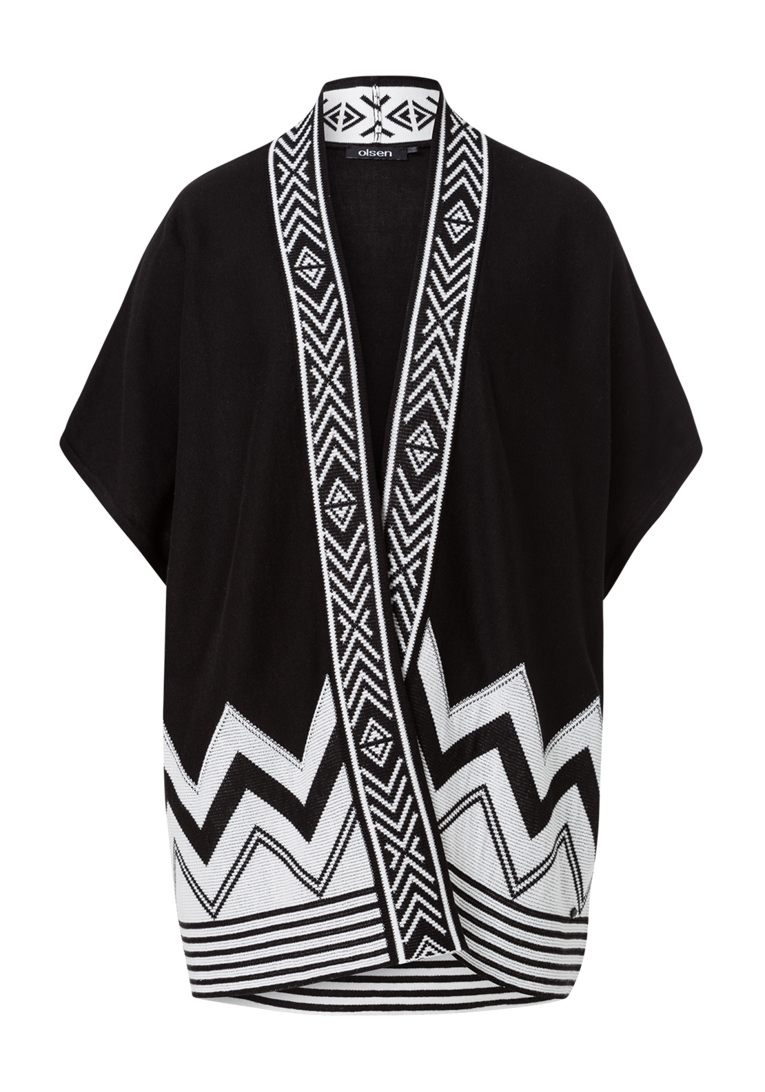 Olsen Chevron Print Short Sleeve Long Cardigan, Black and White