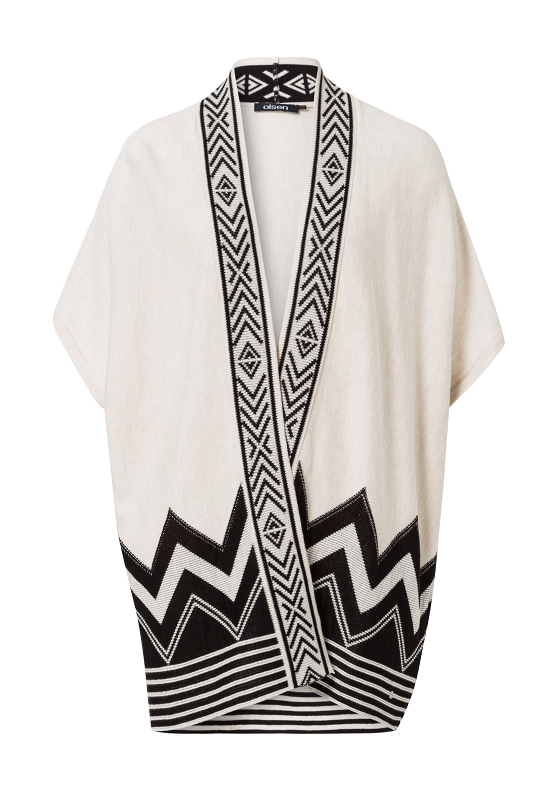 Olsen Chevron Print Short Sleeve Long Cardigan, Beige and Black