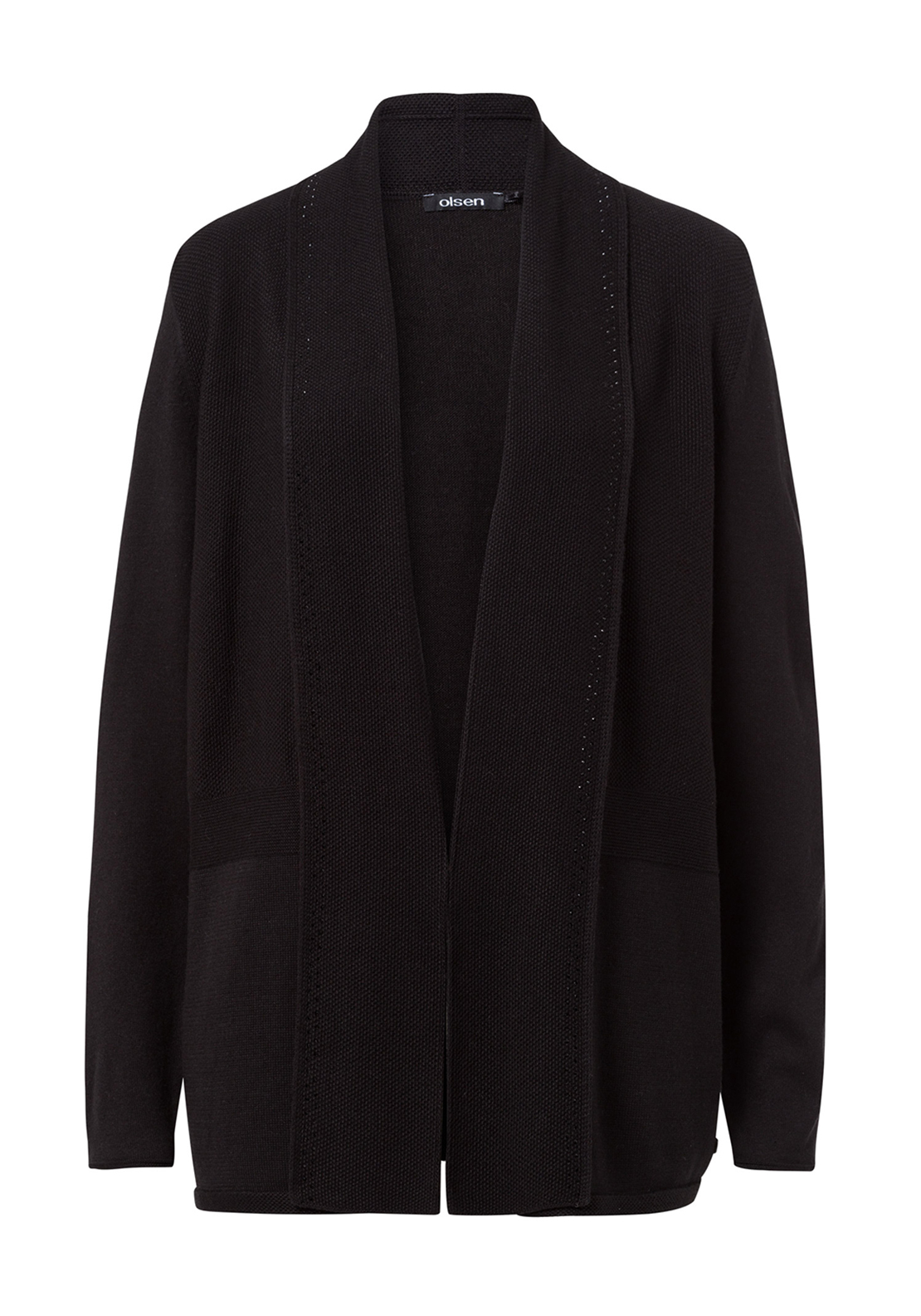 Olsen Embellished Cotton Blend Cardigan, Black