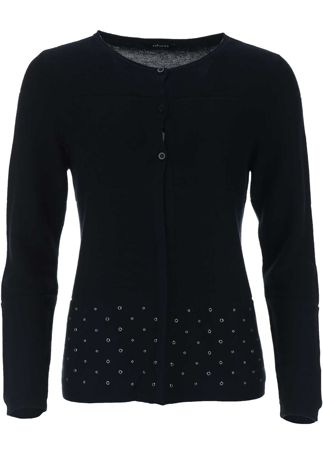 Olsen Rivet Trim Cotton Blend Cardigan, Navy