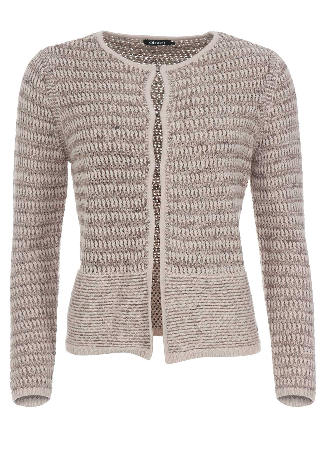 Olsen Woven Cotton Rich Cardigan, Taupe