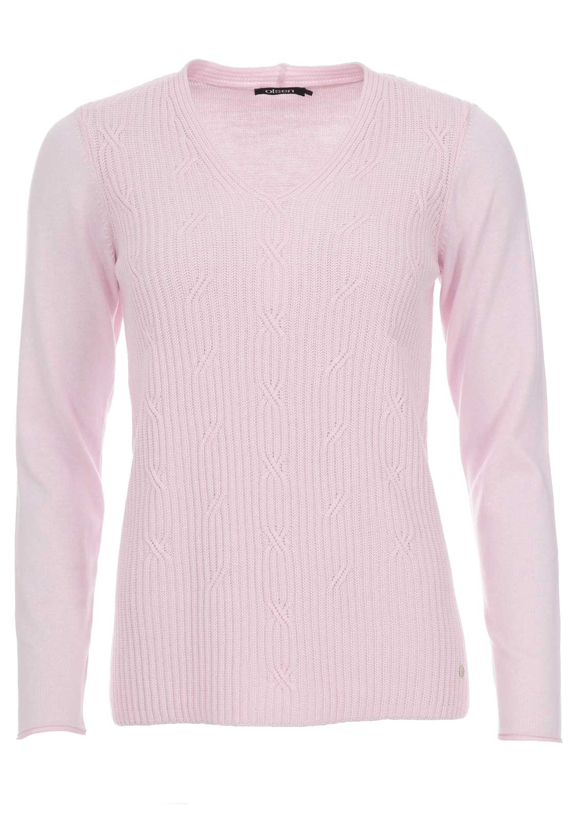 Olsen V-Neck Cable Knit Jumper, Pink