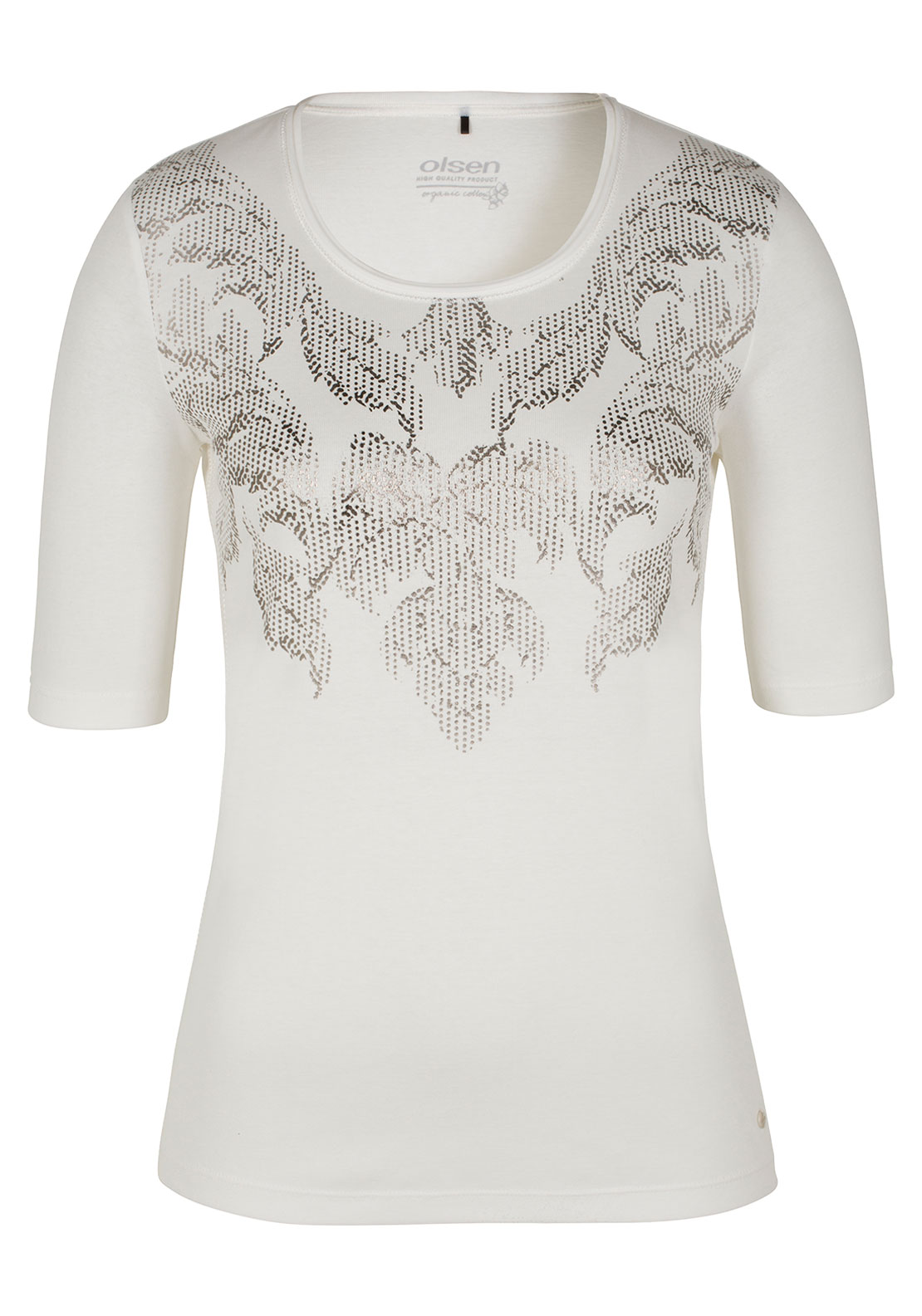 Olsen Metallic Print Half Sleeve Top, Off White