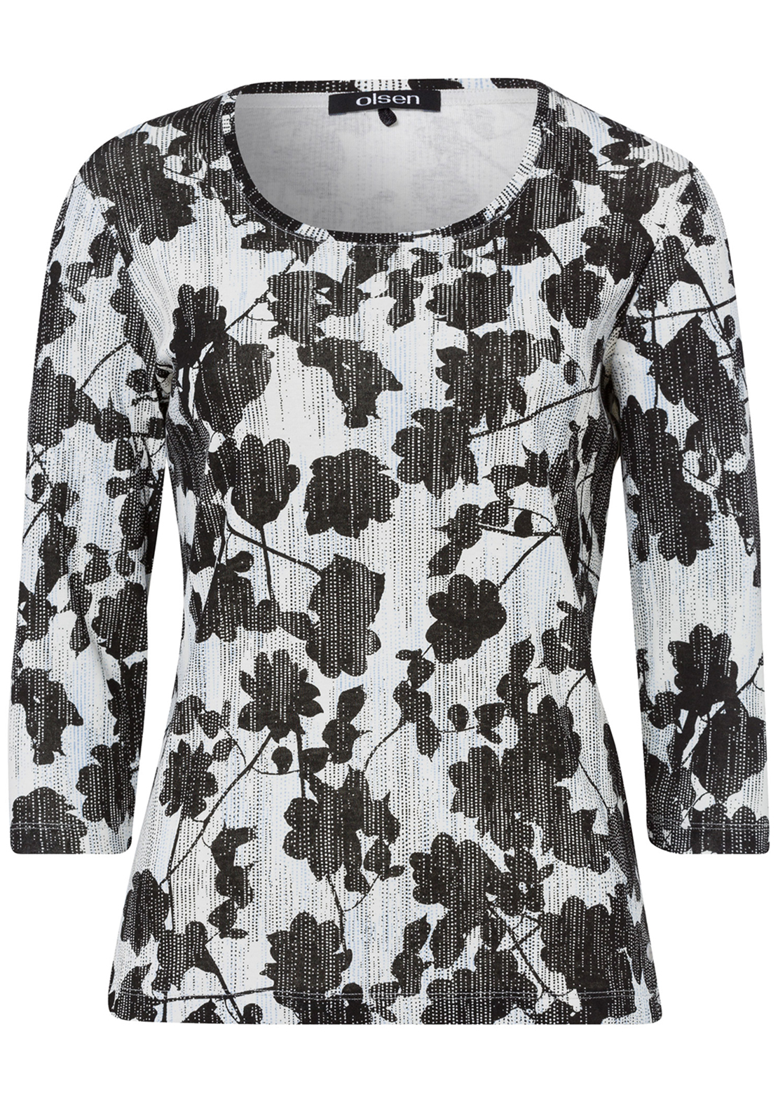 Olsen Floral Print Cropped Sleeve T-Shirt, Black and Cream