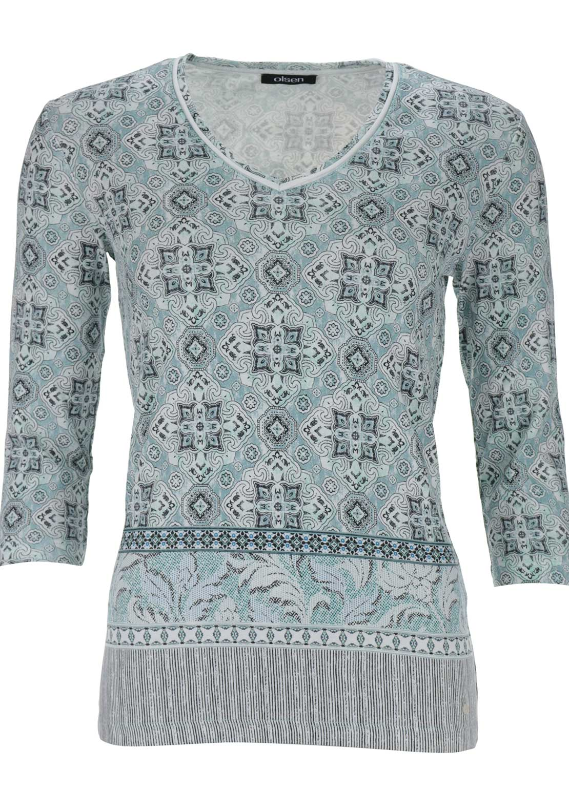 Olsen Vintage Print Cropped Sleeve Top, Mint Green