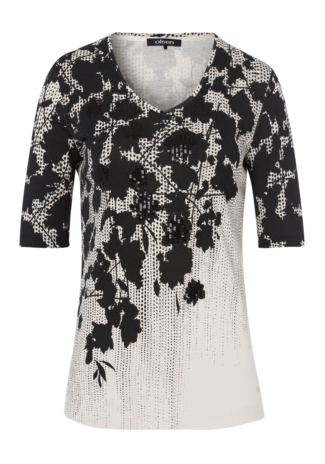Olsen Sequin Embellished Floral Print Short Sleeve T-Shirt, Black Multi