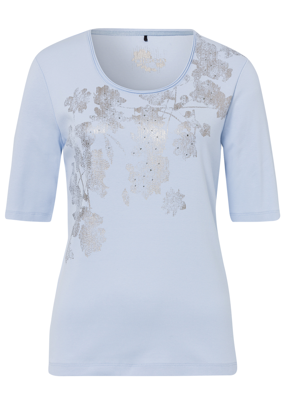 Olsen Metallic Print Half Sleeve T-Shirt, Pale Blue