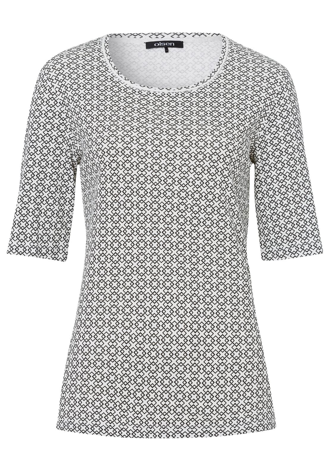 Olsen Diamond Print Half Sleeve T-Shirt, Black and White
