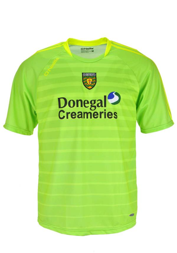 O'NEILLS DONEGAL GAA SHORT SLEEVE TRAINING JERSEY, LIME GREEN