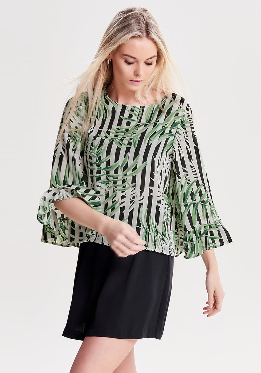 Only Nova Tropical Stripe Flare Sleeve Top, Black
